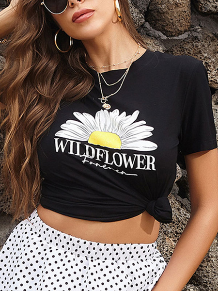 Milanoo Sunflower T Shirt Short Sleeves Jewel Neck Tees Summer Tops
