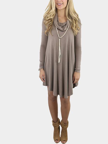 Yoins Coffee Col Boule Ruffled Hem Long Sleeves Mini Dress