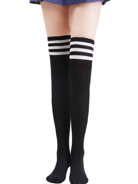 Milanoo Women White Stockings Striped Long Thigh High Socks