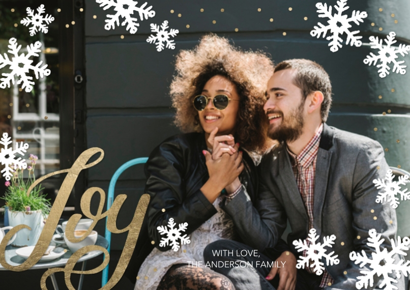 Christmas Photo Cards 5x7 Cards, Premium Cardstock 120lb with Scalloped Corners, Card & Stationery -Christmas Joy Snowflakes