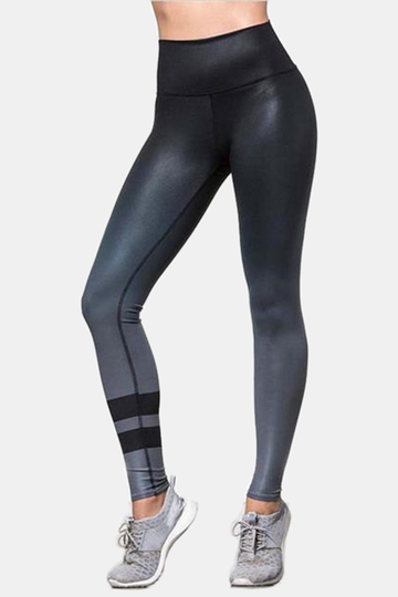 Yoins Active Gradient Quick Drying Elastic Leggings in Black
