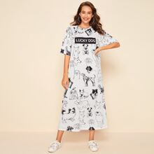 Drop Shoulder Dog & Letter Graphic Dress