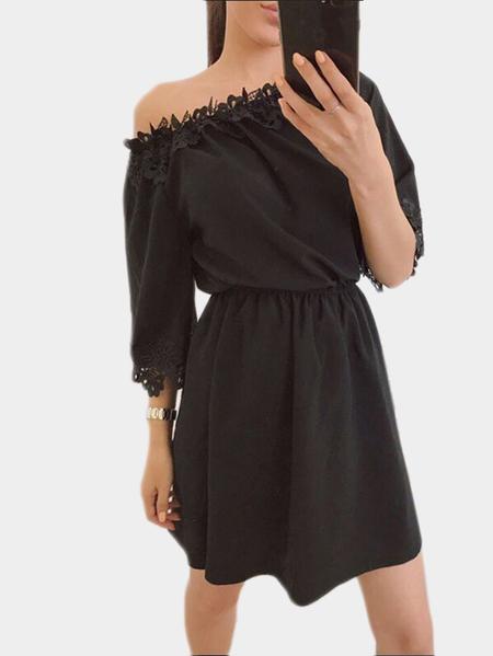 Yoins Black Off-the-shoulder Lace Trim Mini Dress