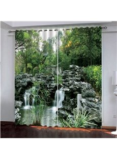 Green Natural Landscape Theme Trees and Flowing Stream 3D Scenery Curtain