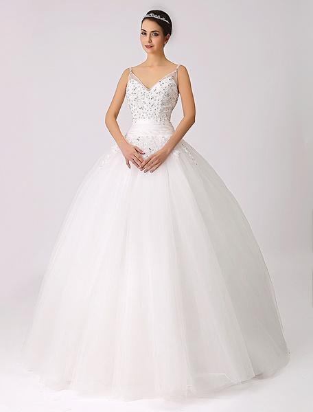 Milanoo Spaghetti Straps Princess Wedding Dress with Beaded Lace Applique
