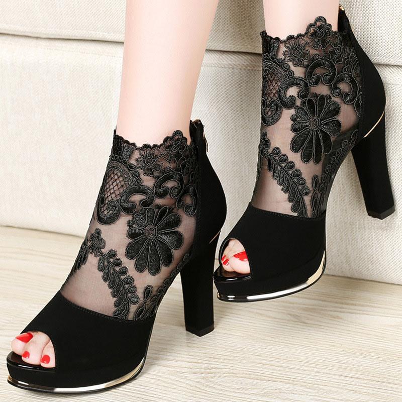 Ericdress Platform Peep Toe Zipper Color Block Thin Shoes