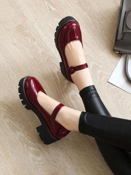 Milanoo Lolita Shoes Black PU Leather Puppy Heel Lolita Pumps