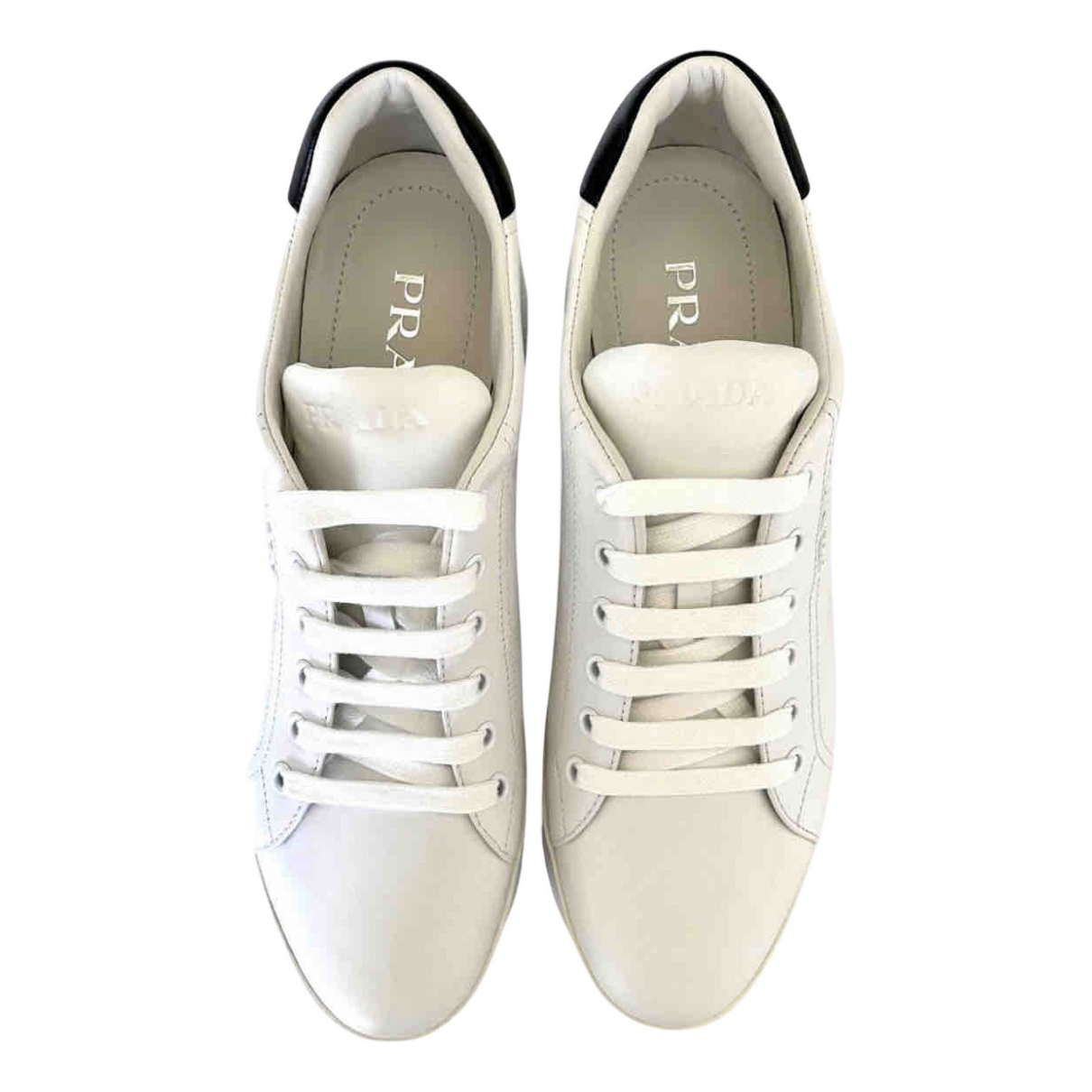 Prada \N White Leather Trainers for Women 37 IT