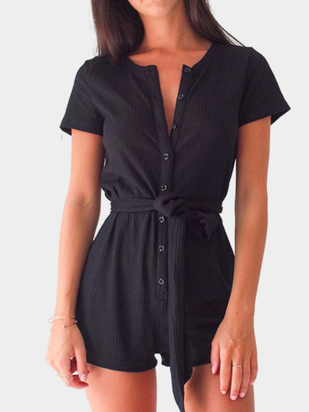 Yoins Black Casual Round Neck Button Up Front Self-tie Playsuit