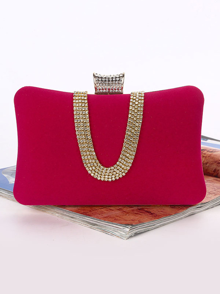 Milanoo Clutch Bags Bridal Wedding Corduroy Rhinestones Beaded Party Evening Handbags