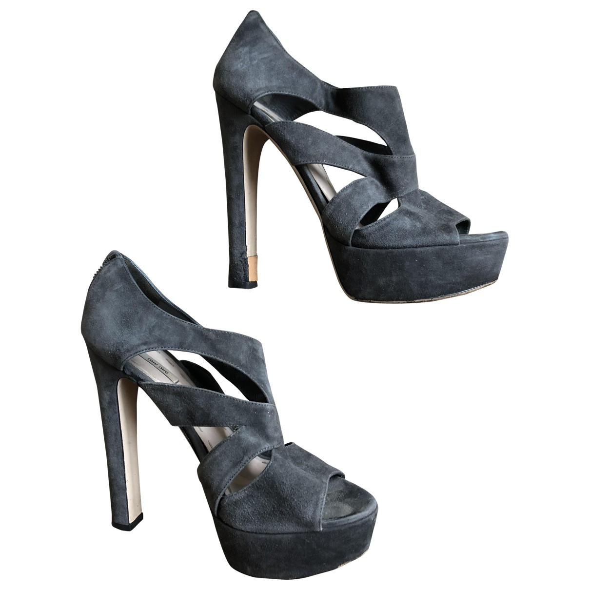 Miu Miu \N Anthracite Suede Sandals for Women 38 EU