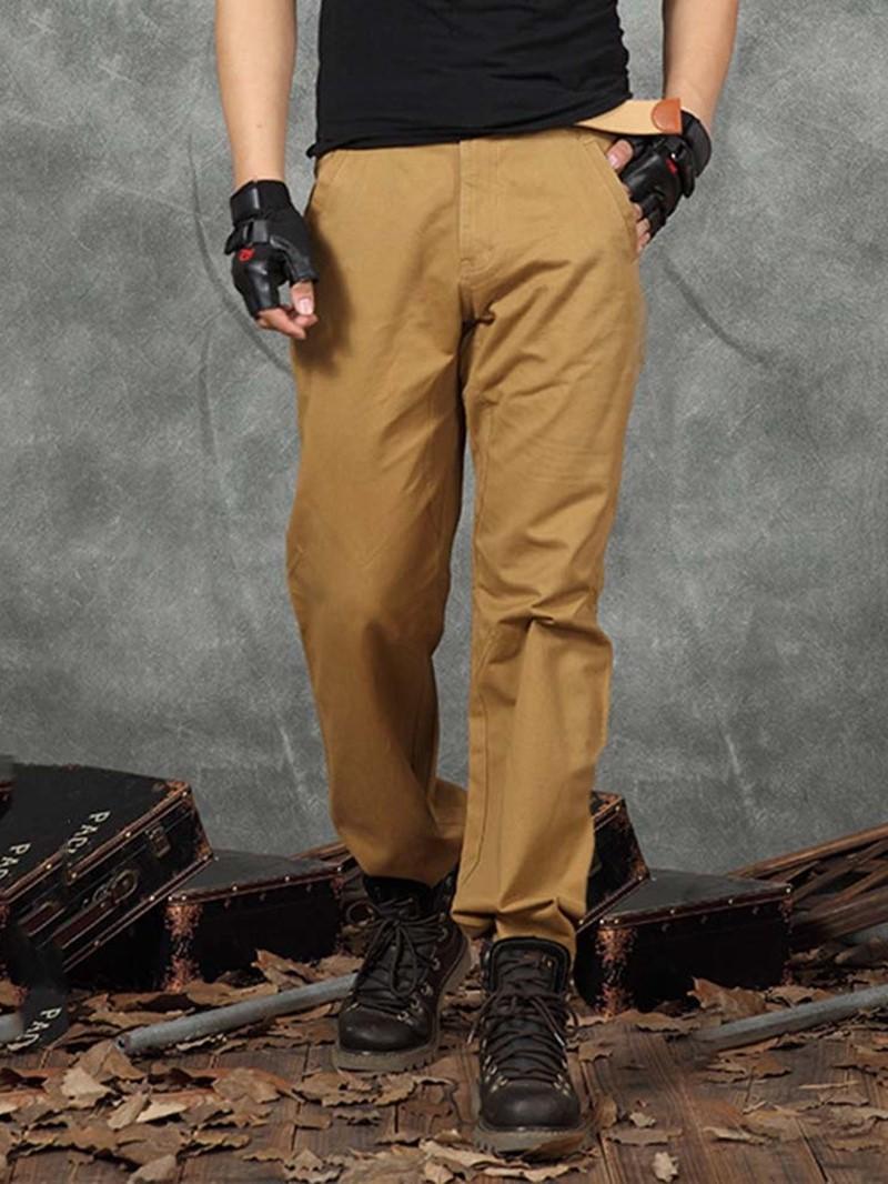 Ericdress Pocket Plain Color Straight Zipper Men's Casual Pants