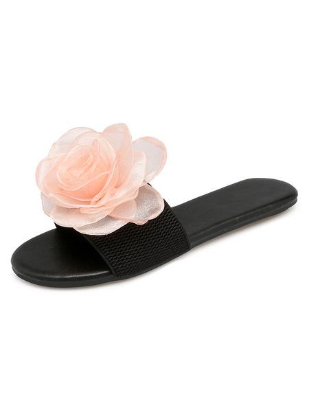 Milanoo Women Sandal Slippers Blue Flowers Shape Backless Sandals Sandal Slides
