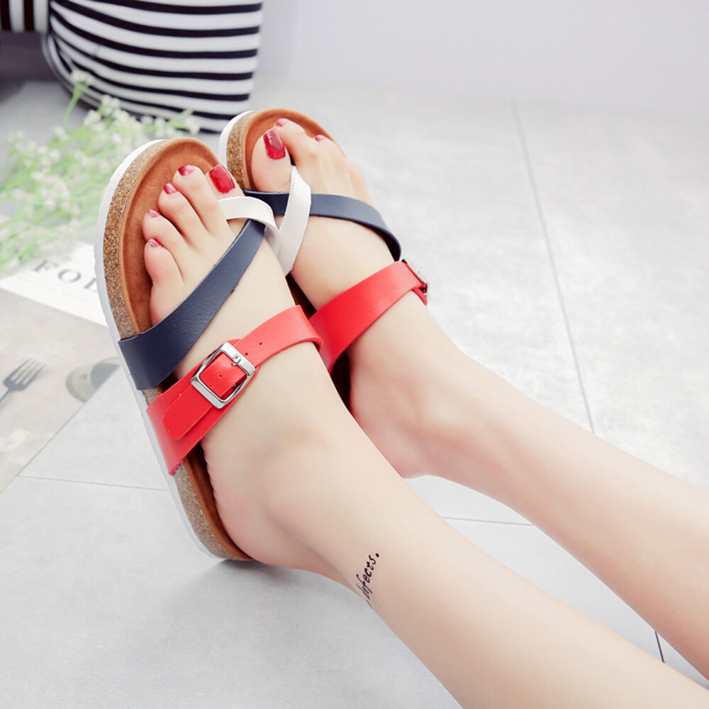 Women Comfy Soft Buckle Splicing Clip Toe Flat Slippers
