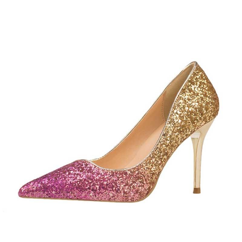 Ericdress Sequin Slip-On Pointed Toe Stiletto Heel Women's Pumps