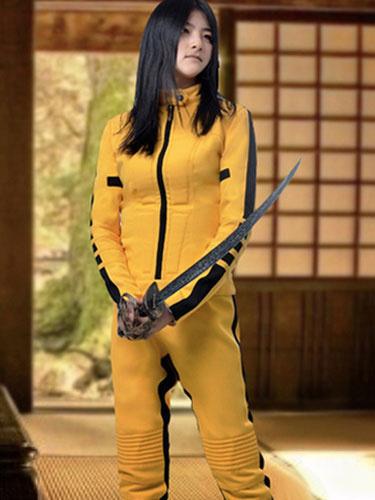 Milanoo Kill Bill The Bride Uma Thurman Cosplay Costume Yellow Catsuit Halloween