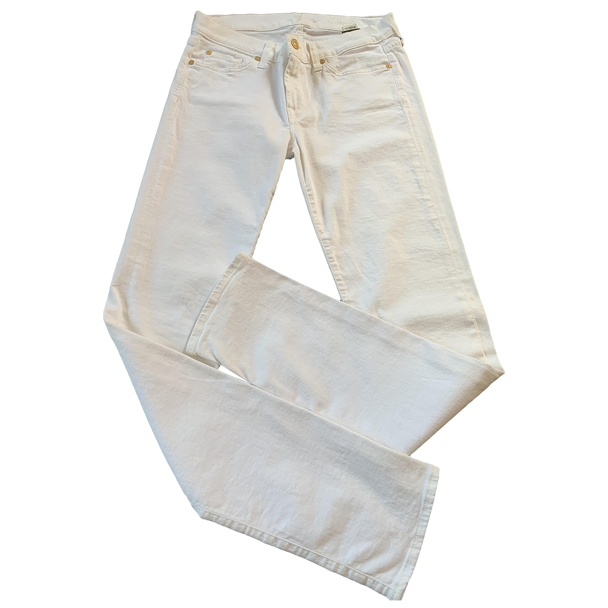 7 For All Mankind \N White Cotton - elasthane Jeans for Women 30 US