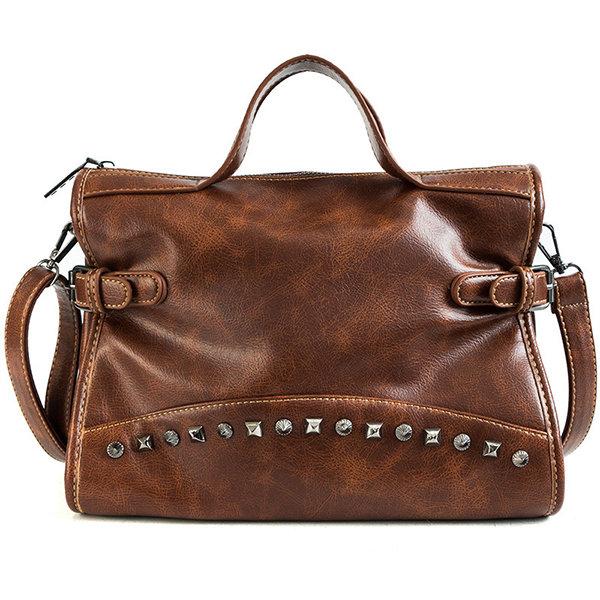 Women Oil Wax PU Leather Handbag Rivet Solid Retro Crossbody Bag Large Capacity Shoulder Bag