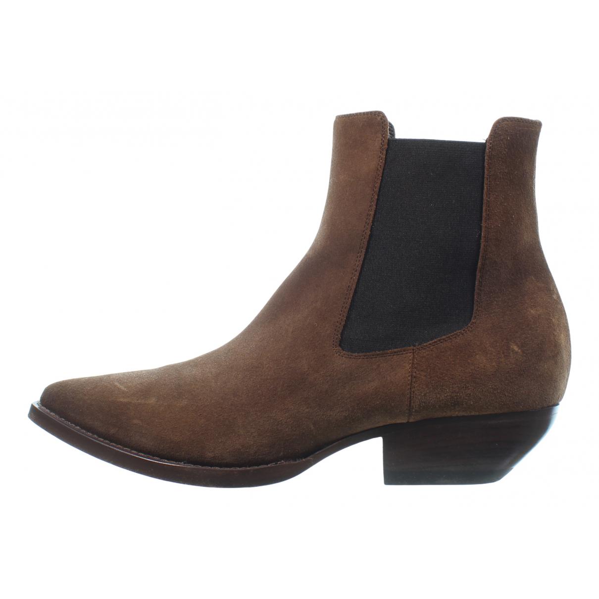 Saint Laurent \N Brown Suede Ankle boots for Women 39.5 EU