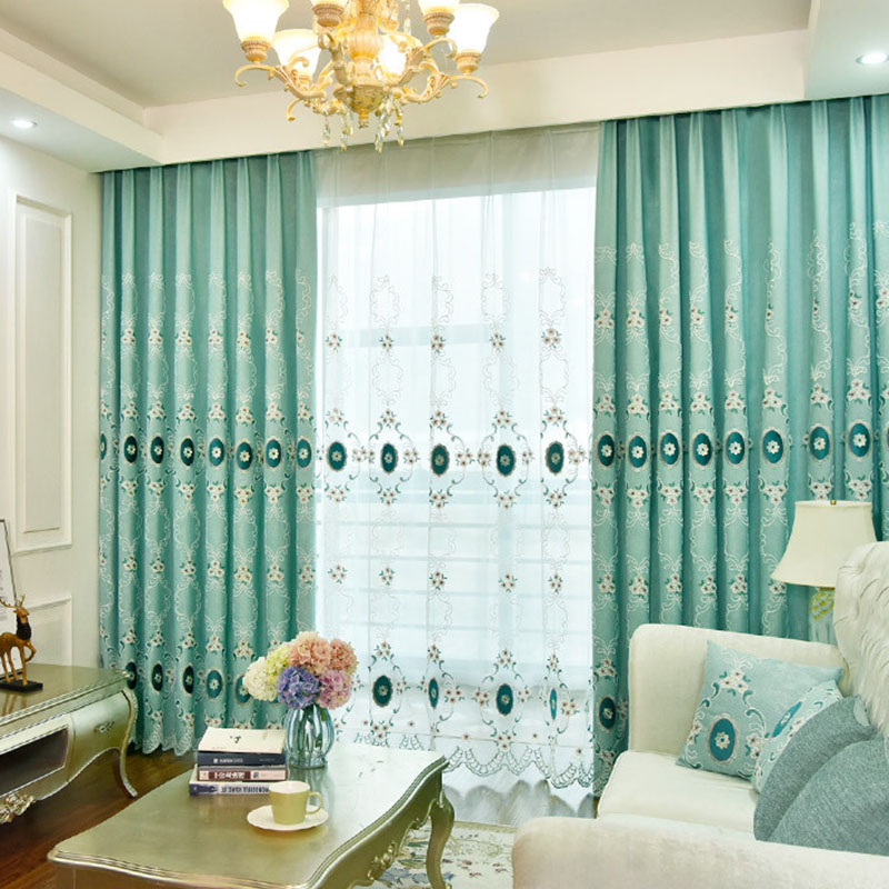 Elegant European Embroidery Floral Linen Sheer Curtains for Living Room Custom 2 Panels Breathable Voile Drapes for Living Room No Pilling No Fading N
