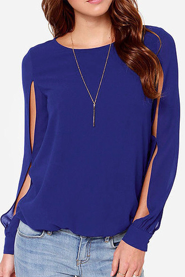 Yoins Navy Round-neck Long Sleeves Blouse