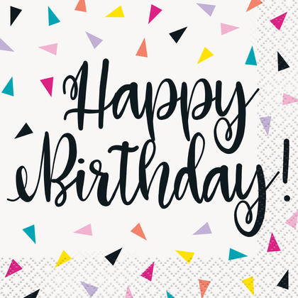 Triangle Confetti Birthday Beverage Napkins, 16ct Pour la fête d'anniversaire