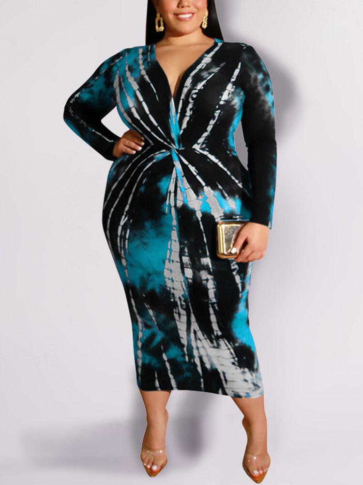 Print V-neck Long Sleeve Plus Size Dress for Women