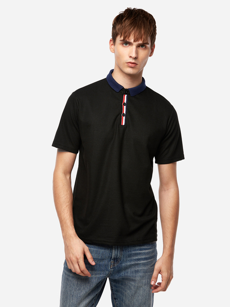 Yoins Black Ribbon Decoration Three Buttons Short Sleeve Men's Lapel Collar Shirt