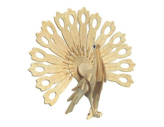 G-M014 Mini Peacock Model DIY 3D Wooden Animal Puzzle Safe Friendly-environmental Simulation Intelligence Toys