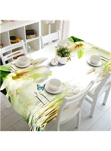 3D Beige Flowers and Beautiful Butterflies Printed Dinning Table Cover Cloth