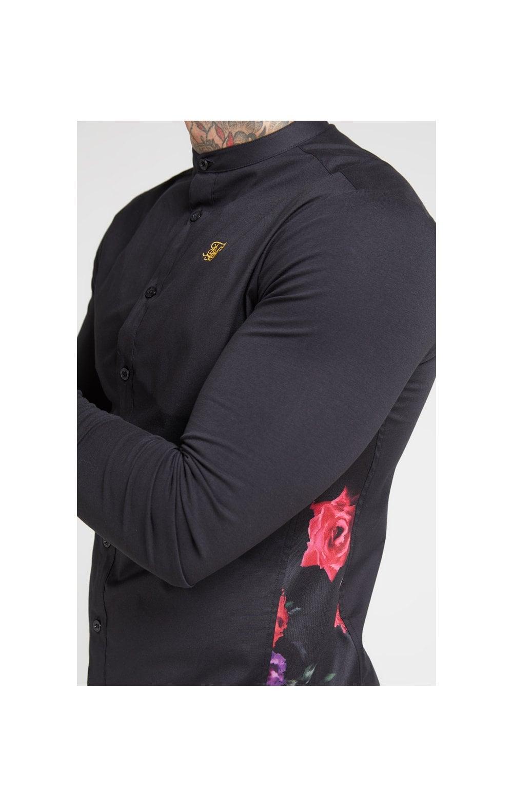 SikSilk L/S Muscle Fit Shirt - Black & Oil Paint MEN SIZES TOP: Me