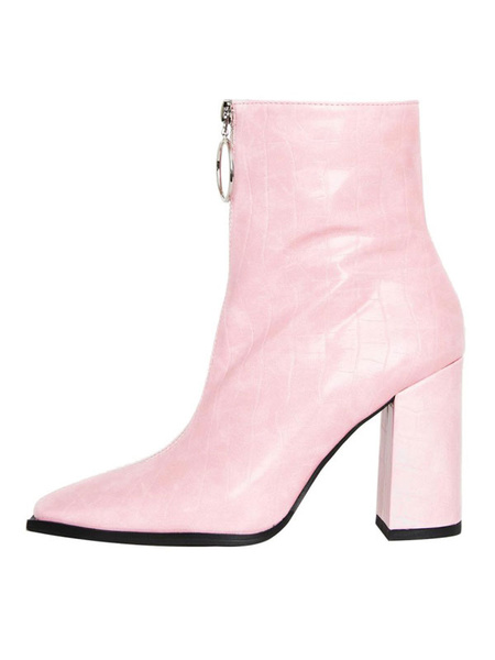 Milanoo Women Ankle Boots PU Leather Pink Pointed Toe Stone Pattern Zip Up High Heel Booties