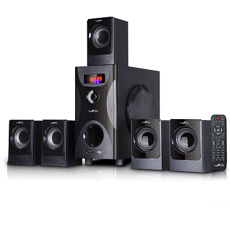 beFree Sound 5.1 Channel Surround Sound Bluetooth Speaker System in Black, One Size , Black