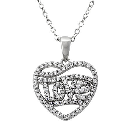 DiamonArt Womens 1 CT. T.W. White Cubic Zirconia Sterling Silver Heart Pendant Necklace, One Size , No Color Family