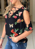Floral Criss-Cross Cold Shoulder V-Neck Blouse - Black