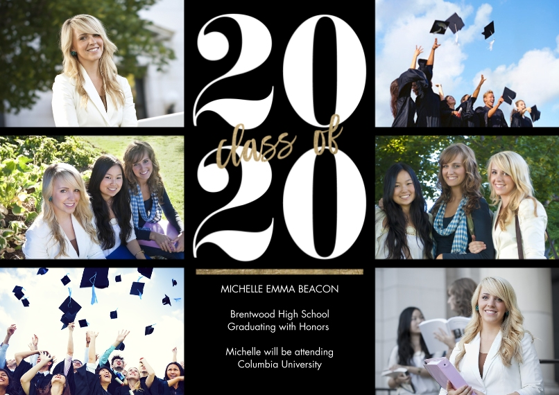 2020 Graduation Announcements 5x7 Cards, Premium Cardstock 120lb, Card & Stationery -2020 Classic Year by Tumbalina