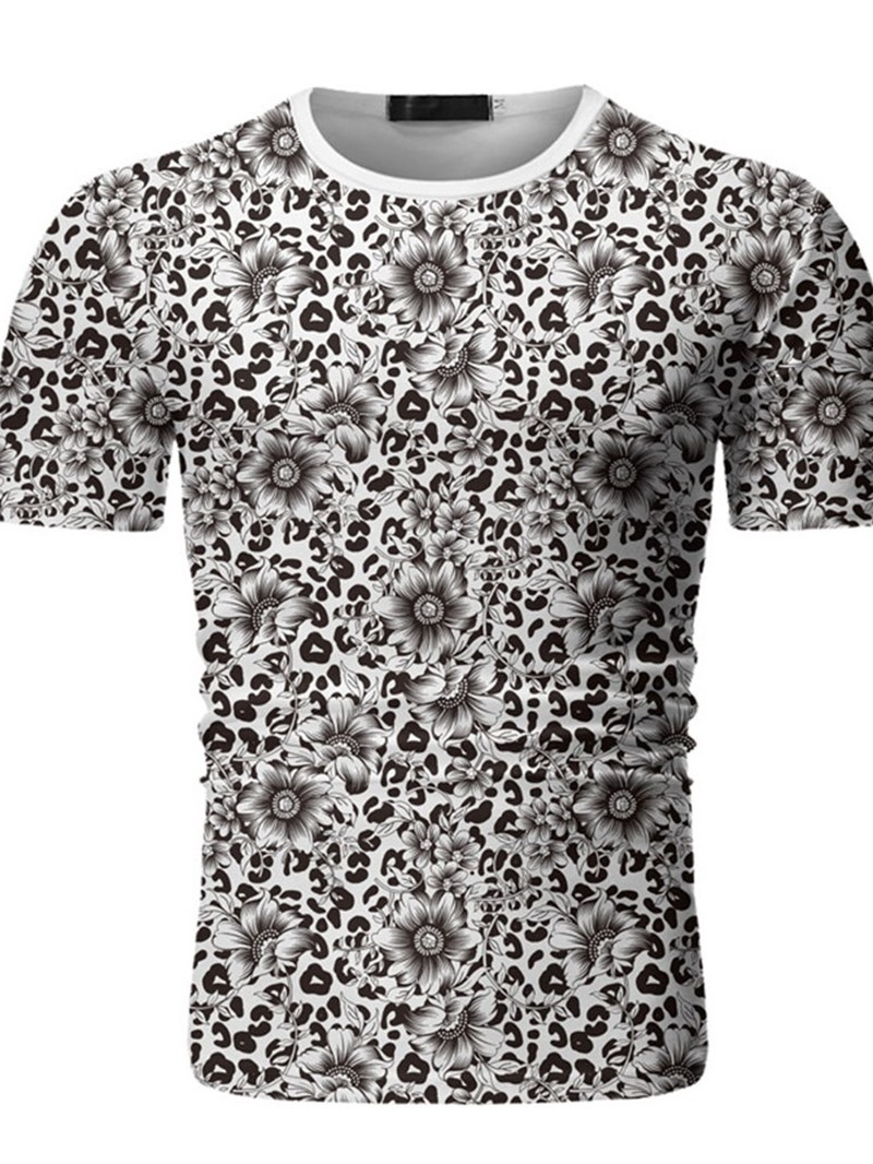 Ericdress Leopard Print Round Neck Men's Slim T-shirt
