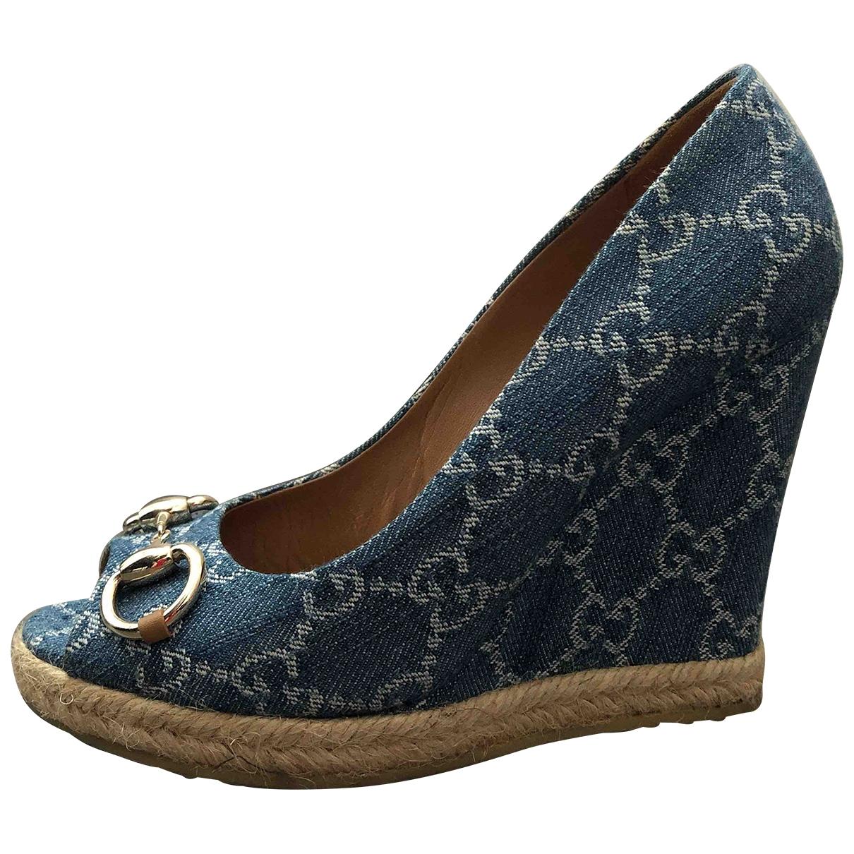 Gucci \N Blue Cloth Heels for Women 36 EU