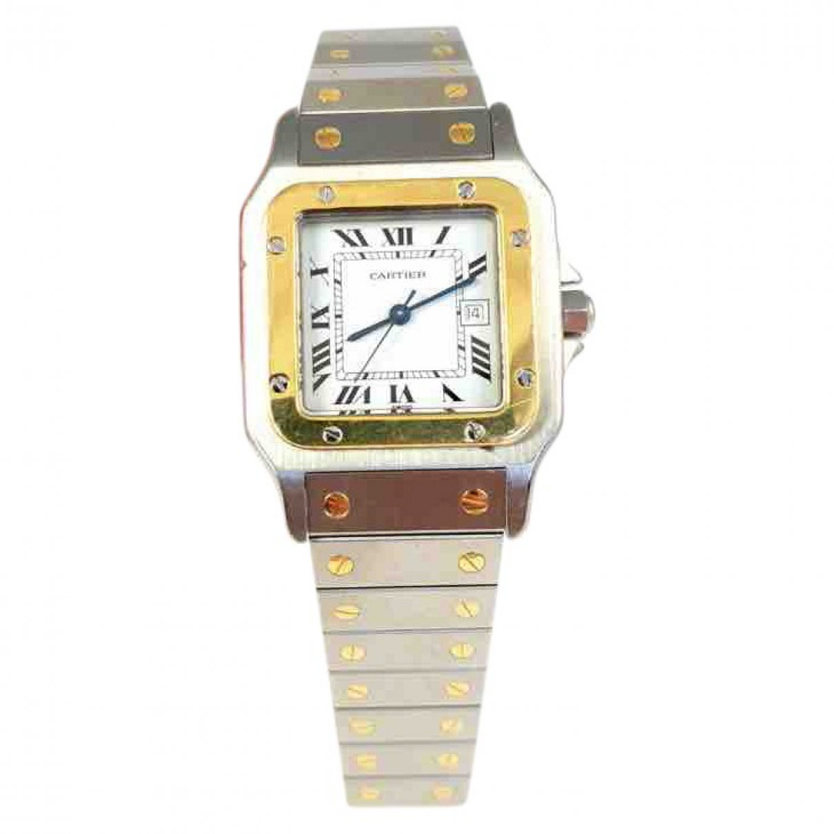 Cartier Santos Galbée Silver gold and steel watch for Men \N