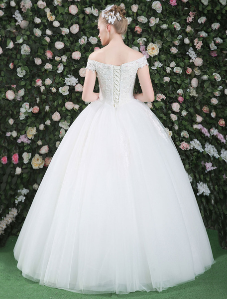 Milanoo Ball Gown Wedding Dresses Princess Off The Shoulder White Tulle Lace Beading Flowers Floor Length Bridal Gown