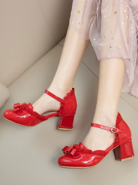 Milanoo Sweet Lolita Footwear Bows Round Toe PU Leather Lolita Shoes