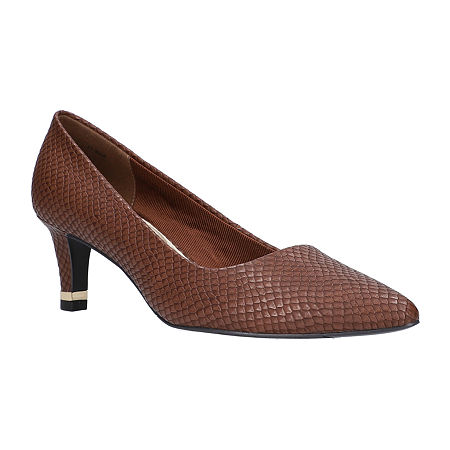 Easy Street Womens Pointed Pumps Spike Heel, 11 Wide, Brown