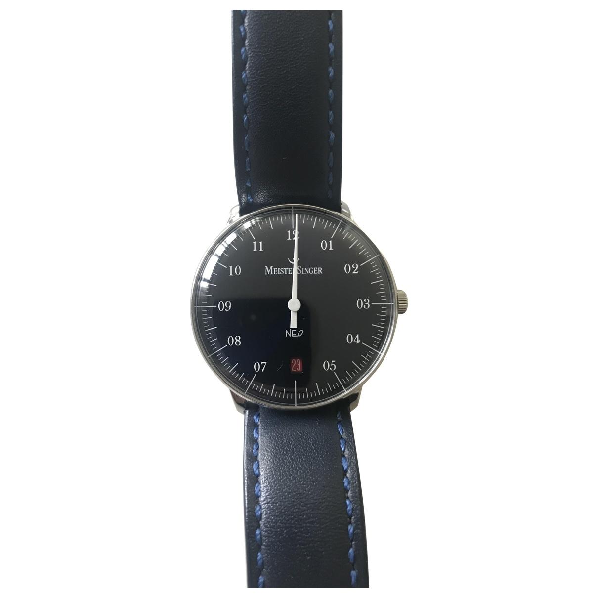 Meistersinger \N Blue Steel watch for Men \N