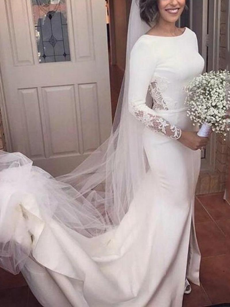 Ericdress Long Sleeves Appliques Backless Wedding Dress