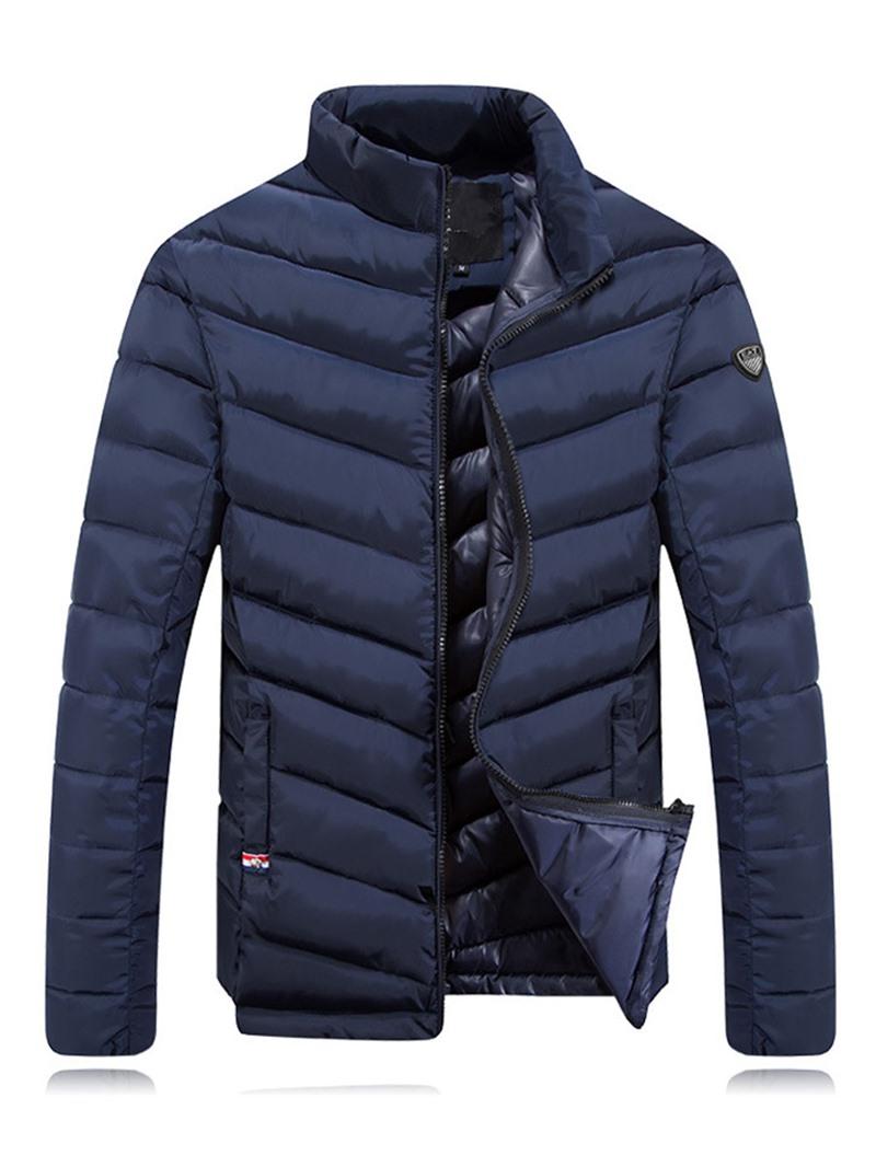 Ericdress Plain Stand Collar Zip Warm Men's Jacket