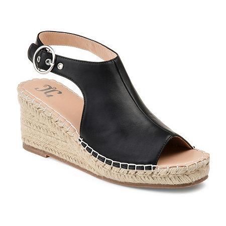 Journee Collection Womens Crew Wedge Sandals, 8 1/2 Medium, Black