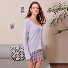 Solid Drop Shoulder V-Neck Sweater