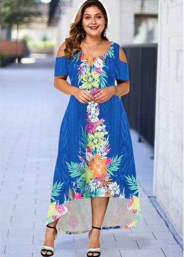 Plus Size Floral Print High Low Dress - 1X