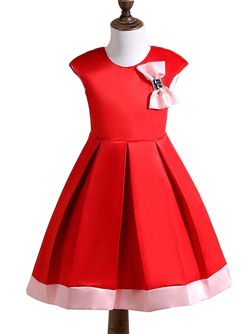 Ericdress Plain Bowknot Sleeveless Girls' Princess Dress