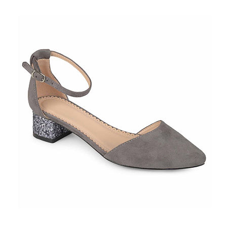 Journee Collection Womens Maisy Pumps Block Heel, 5 1/2 Medium, Gray